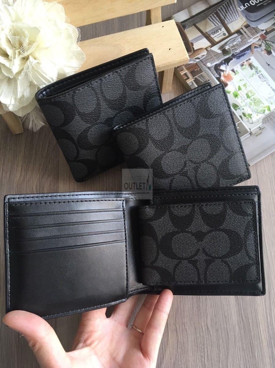 COACH Men F74993 two bi-fold Wallet case SIGNATURE (black)